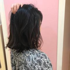 外ハネ 切りっぱなし ロブ デート ヘアスタイルや髪型の写真・画像