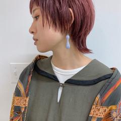 ストリート ウルフカット ハイトーンカラー ピンク ヘアスタイルや髪型の写真・画像