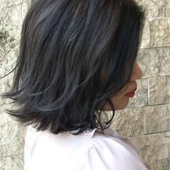 ブルーブラック ナチュラル ブルージュ ボブ ヘアスタイルや髪型の写真・画像