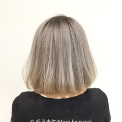 モード ブリーチ ホワイト ボブ ヘアスタイルや髪型の写真・画像