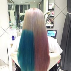 ブルー 透明感 ピンク ロング ヘアスタイルや髪型の写真・画像