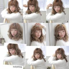 ガーリー モテ髪 コンサバ ミディアム ヘアスタイルや髪型の写真・画像