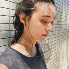 ナチュラル ヘアアレンジ 前髪なし ハーフアップ ヘアスタイルや髪型の写真・画像