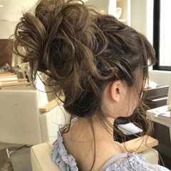 デート 結婚式 ロング お団子 ヘアスタイルや髪型の写真・画像
