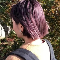 ベリーピンク ボブ 切りっぱなしボブ ミニボブ ヘアスタイルや髪型の写真・画像