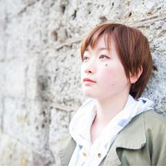 ハイライト ショート 小顔 ガーリー ヘアスタイルや髪型の写真・画像