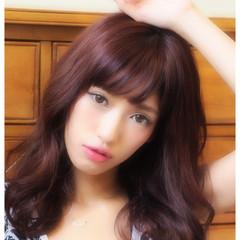 セミロング おフェロ ゆるふわ ピンク ヘアスタイルや髪型の写真・画像