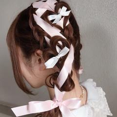 フェミニン ツインテール ガーリー ロング ヘアスタイルや髪型の写真・画像