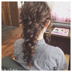 編み込み ヘアアレンジ パーティ フェミニン ヘアスタイルや髪型の写真・画像
