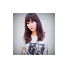 暗髪 セミロング 透明感 フェミニン ヘアスタイルや髪型の写真・画像