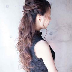 フェミニン ロング 簡単ヘアアレンジ ゆるふわ ヘアスタイルや髪型の写真・画像