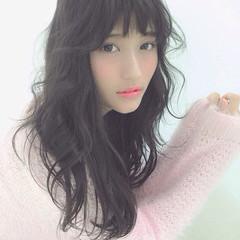 黒髪 渋谷系 ガーリー ロング ヘアスタイルや髪型の写真・画像