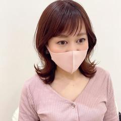 フェミニン くびれカール 韓国ヘア ピンク ヘアスタイルや髪型の写真・画像