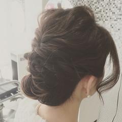 ルーズ ミディアム ナチュラル 編み込み ヘアスタイルや髪型の写真・画像