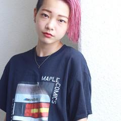 簡単ヘアアレンジ ベリーピンク ピンク ショート ヘアスタイルや髪型の写真・画像