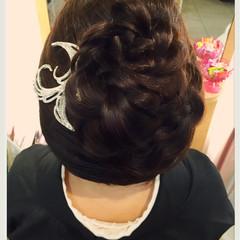 和装 花 ロング 着物 ヘアスタイルや髪型の写真・画像