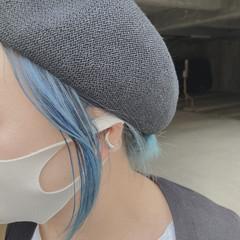 インナーカラー ブルー ヘアアレンジ ストリート ヘアスタイルや髪型の写真・画像