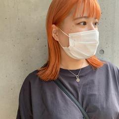 アプリコットオレンジ ハイトーン ミディアム オレンジカラー ヘアスタイルや髪型の写真・画像