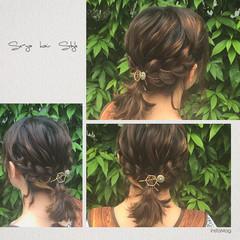 ハーフアップ フェミニン ボブ ヘアアレンジ ヘアスタイルや髪型の写真・画像
