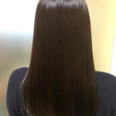 モード 暗髪 セミロング ネイビー ヘアスタイルや髪型の写真・画像