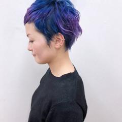 ショート ブルー 個性的 モード ヘアスタイルや髪型の写真・画像