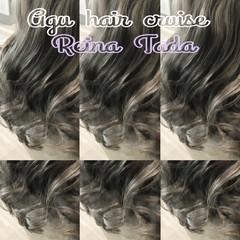 フェミニン バレイヤージュ グレー ロング ヘアスタイルや髪型の写真・画像