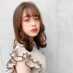 ナチュラル 大人可愛い デジタルパーマ セミロング ヘアスタイルや髪型の写真・画像