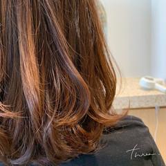 デジタルパーマ 毛先パーマ ナチュラル セミロング ヘアスタイルや髪型の写真・画像