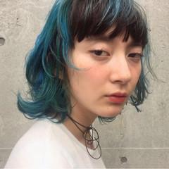 ストリート ピュア ミディアム ブルー ヘアスタイルや髪型の写真・画像