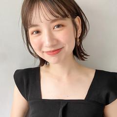 韓国 ウルフカット オレンジベージュ シースルーバング ヘアスタイルや髪型の写真・画像