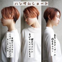 耳掛けショート マッシュショート ナチュラル 銀座美容室 ヘアスタイルや髪型の写真・画像