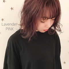 ミディアム ストリート ラベンダー ラベンダーピンク ヘアスタイルや髪型の写真・画像