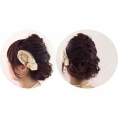 アップスタイル お呼ばれ 編み込み ヘアアレンジ ヘアスタイルや髪型の写真・画像