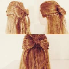 ハーフアップ ヘアアレンジ セミロング 三つ編み ヘアスタイルや髪型の写真・画像