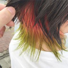 ウルフカット インナーカラー ストリート ベリーショート ヘアスタイルや髪型の写真・画像