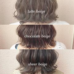 アッシュベージュ ベージュ 透明感カラー ミディアム ヘアスタイルや髪型の写真・画像