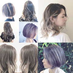 ボブ グラデーションカラー ナチュラル バレイヤージュ ヘアスタイルや髪型の写真・画像