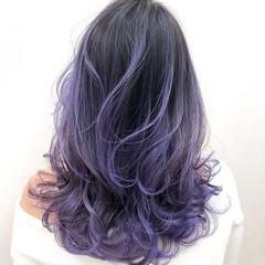 フェミニン ラベンダーカラー セミロング ハイトーンカラー ヘアスタイルや髪型の写真・画像