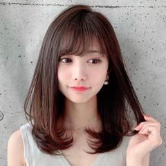 前髪あり 可愛い セミロング ヘアスタイルや髪型の写真・画像