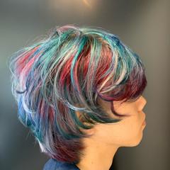 メンズカラー ショート ユニコーンカラー 派手髪 ヘアスタイルや髪型の写真・画像