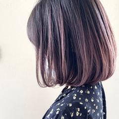ダブルカラー バレイヤージュ ボブ 外国人風カラー ヘアスタイルや髪型の写真・画像