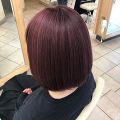 ラズベリーピンク ボブ フェミニン ピンクパープル ヘアスタイルや髪型の写真・画像