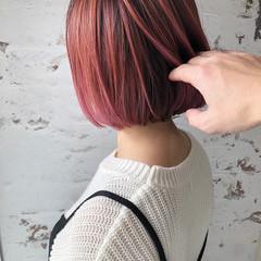 ストリート バレイヤージュ ハイトーンカラー ボブ ヘアスタイルや髪型の写真・画像