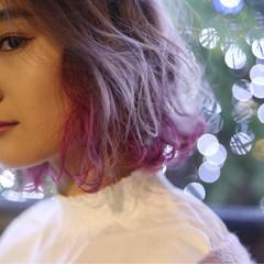 ピンクアッシュ ピンク ベリーピンク フェミニン ヘアスタイルや髪型の写真・画像