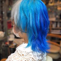 インナーカラー ミディアム ツートンカラー ストリート ヘアスタイルや髪型の写真・画像