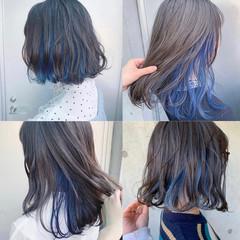 ミディアム ブルージュ インナーカラー グレージュ ヘアスタイルや髪型の写真・画像
