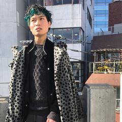 ブルー モード 黒髪 個性的 ヘアスタイルや髪型の写真・画像