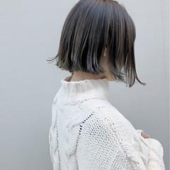 外国人風カラー 外ハネ ナチュラル ボブ ヘアスタイルや髪型の写真・画像