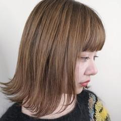 ベージュ 透明感カラー ナチュラル ボブ ヘアスタイルや髪型の写真・画像