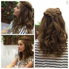 編み込み 涼しげ モテ髪 夏 ヘアスタイルや髪型の写真・画像